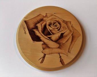 English Garden Rose, signed pyrography art on Jelutong wood