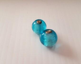 Beads round glass 1 cm blue silver Center