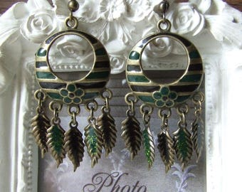 """Earrings """"Spirit of nature"""" spruce green and black enameled by me"""