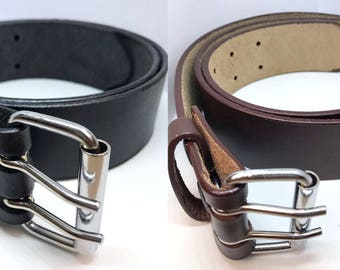 MEN'S 100% GENUINE Leather Belt With Double Hole IN Black/Brown 30'' to 64''