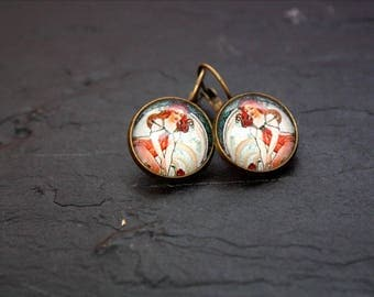Mucha cabochon Stud Earrings