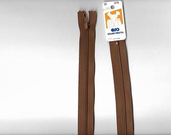 "35cm ""plastic zipper"" closure not separable z51 Brown 979."