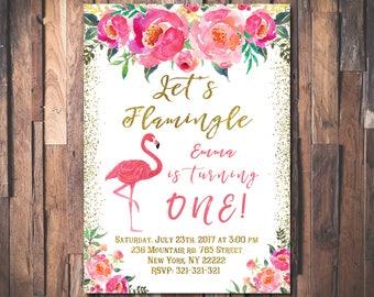 Flamingo birthday invitation, Let's flamingle birthday invitation, Girl first birthday party invitation, First birthday invitation 1035