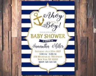 AHOY ITS a BOY Baby Shower Invitation, Nautical Baby Shower Invitation, Ahoy Its a Boy, Navi Blue, Gold Anchor, Baby Boy Shower Invite  1083
