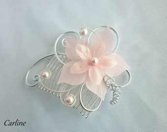 Hair comb pink pale bridal flower silk - Cole-