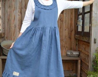 Blue linen dress models Miss Juju