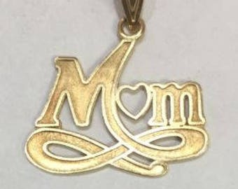 14k Yellow Real Gold solid Mom Heart Pendant Charm 1.3grams