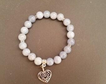 Aquamarine (8 mm beads) bracelet