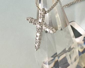 Memorable! 1.02tcw Diamond Cross & White Gold Necklace 14k Certified