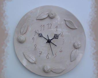 Clock wall shabby earthenware