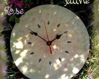 Clock, original, round, lace, yellow pink and green shades