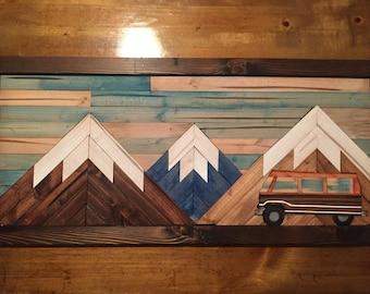 VW Bus Mountain Scene