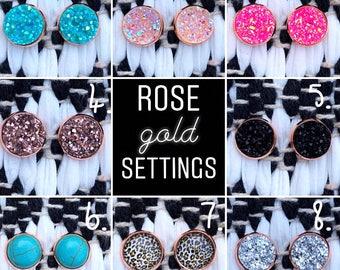 Rose gold druzy styled earrings