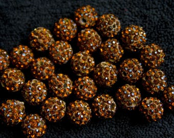 Pearl beaded rhinestone Brown 10 mm x 1