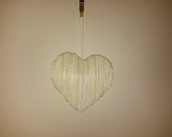 wood and metal hanging heart decoration