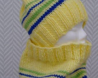 "Kids hand knitted Hat + yellow wool ""Chamonix"" snood"