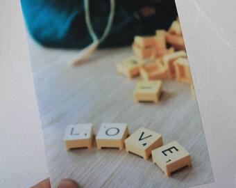 """Postcard """"love"""" in scrabble letters"""