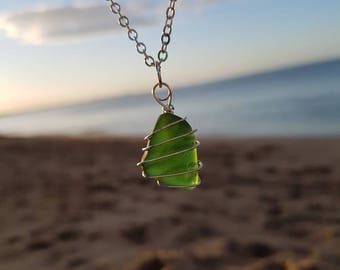 Spiral Wrapped Green Sea Glass Necklace, Seaglass Pendant, Beach Jewellery, Jewelry