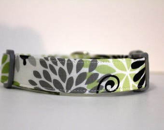 Flowers and Butterflies Dog Collar, Green/Gray/White Floral Collar, Custom Dog Collar, Personalized Dog Collar, Embroidered Collar, Collar