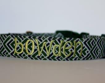 Dark Green Gray and Navy Geo Collar, Geometric Dog Collar, Custom Collar, Personalized Dog Collar, Embroidered Collar, Dog Collar, Collar