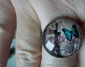 eiffel tower glass cabochon ring