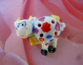 small colorful cow button bean porcelain for couture creation