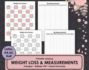 Printable Weight Loss Tracker,Measurement Tracker,Fitness Journal,Fitness Log,Health Tracker,Bullet Journal,Weight Log,Measurement Log