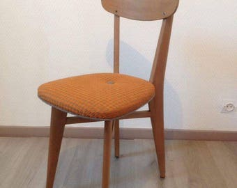 Retro Bistro Chair, foot houndstooth Orange and grey fabric