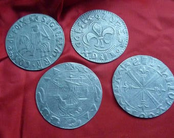 4 glass coasters - pewter Nordic patterns * 7 cm * 1970s