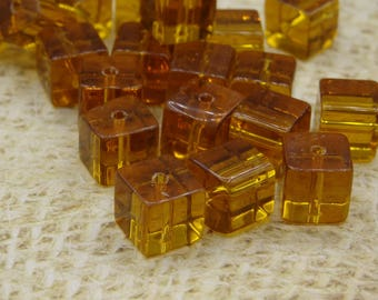 handcrafted dark yellow glass square 8mm 20 beads