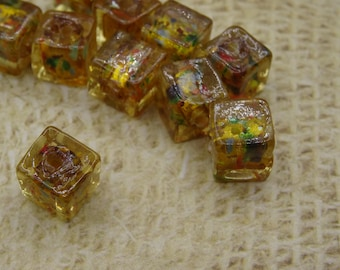 10 beads in amber yellow glass square silver handcrafted 8mm