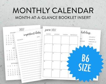 B6 Monthly Calendar Traveler's Notebook Insert