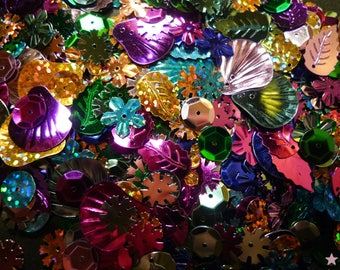 Acrylic sequins metallic multicoloured, silver, gold 8-20mm