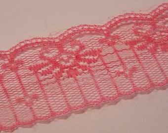 1 meter ❥ pretty asymmetrical pink lace floral Ribbon