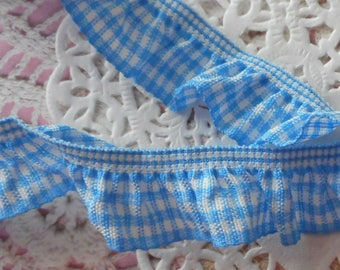 Blue and white gingham Ribbon gathered by elastic for sewing or decoration 2.00 cm width