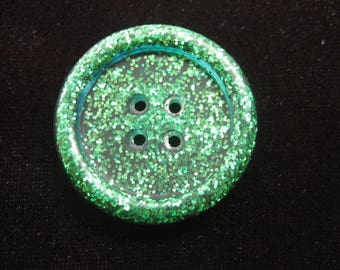 Button diameter 30mm resin green glitter