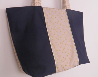 large blue Tote Navy zipped closure Golden dots / unique creations / tessees handles