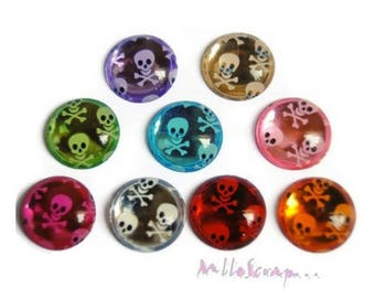 Set of 9 skulls embellishments scrapbooking card making decorations *.