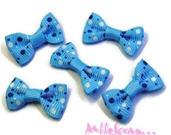 Set of 5 blue bow, white embellishments scrapbooking card making *.