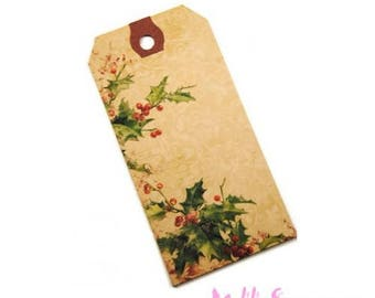 """Set of 2 """"Holly"""" Christmas tags labels scrapbooking card making *."""