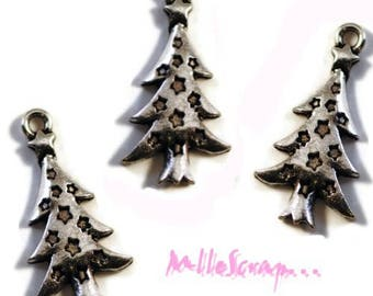 Set of 4 Christmas trees charms scrapbooking card making embellishment *.