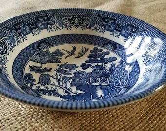 """Vintage """"Churchill"""" Willow Pattern Soup- Desert Bowl- Blue and White"""