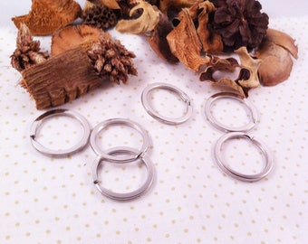 10 large rings flat, double, matte silver color key creations, jewelry...