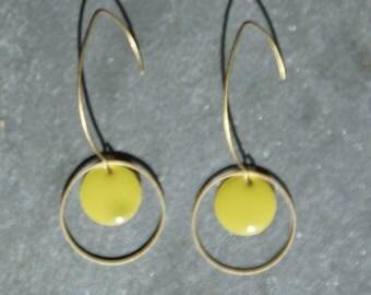 Enamelled sequin earrings