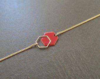 Minimalist Hexagon bracelet red burgundy - enameled jewelry