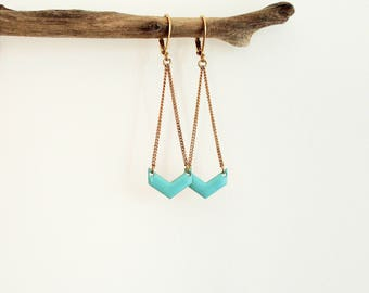Mint green chevron mint - enameled jewelry earrings