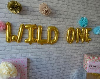 """WILD ONE Banner 16"""" Rose Gold ,Silver,Gold Foil Balloons,Mylar Balloons , New Baby"""