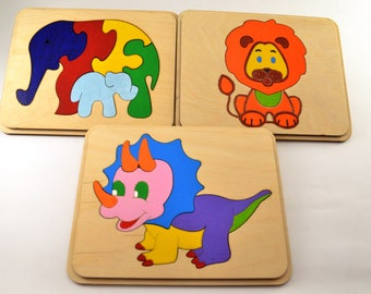 Set of 3 wooden puzzle Baby & Toddler Toys Montessori toy Wooden toys Christmas baby gifts Animal puzzle Elephants family Waldorf toys