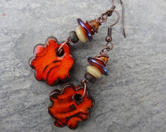 Earrings Orange florets - rustic poetic spring - ceramics, beads glass