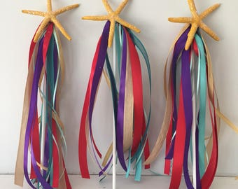 Starfish  party Wands, Mermaid party supplies, Mermaid starfish wands,  Birthday party supplies, party favor, Ariel birthday